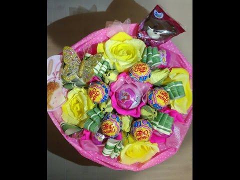 МК по изготовлению конфетного букета с киндерами и чупа-чупсами