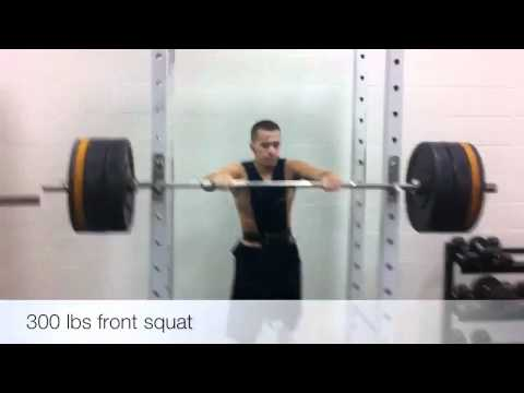 Sam Campese front squats 300!