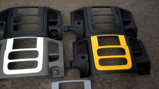 Black, white and yellow Dodge Ram carbon fiber double DIN