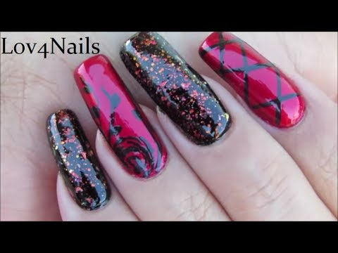 Elegant Red & Black Gothic Nail Art