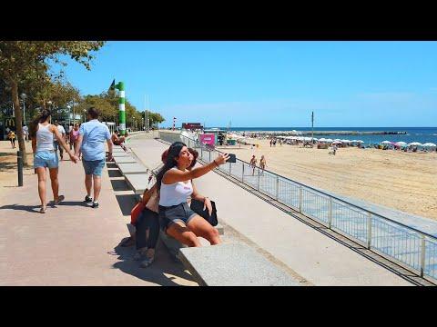 Walking Barcelona's BEACH PROMENADE - Olympic Port to Levante Beach - Catalonia, Spain