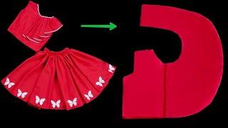فكرة مدهشة لخياطة فستان بطريقة بسيطة جدآ l أحدث خياطة فستان طفلة بكل بساطة