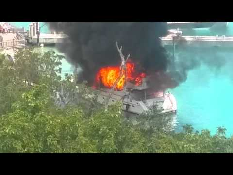 "Yacht ""Positive Energy"" burning in Long Bay, St Thomas USVI"
