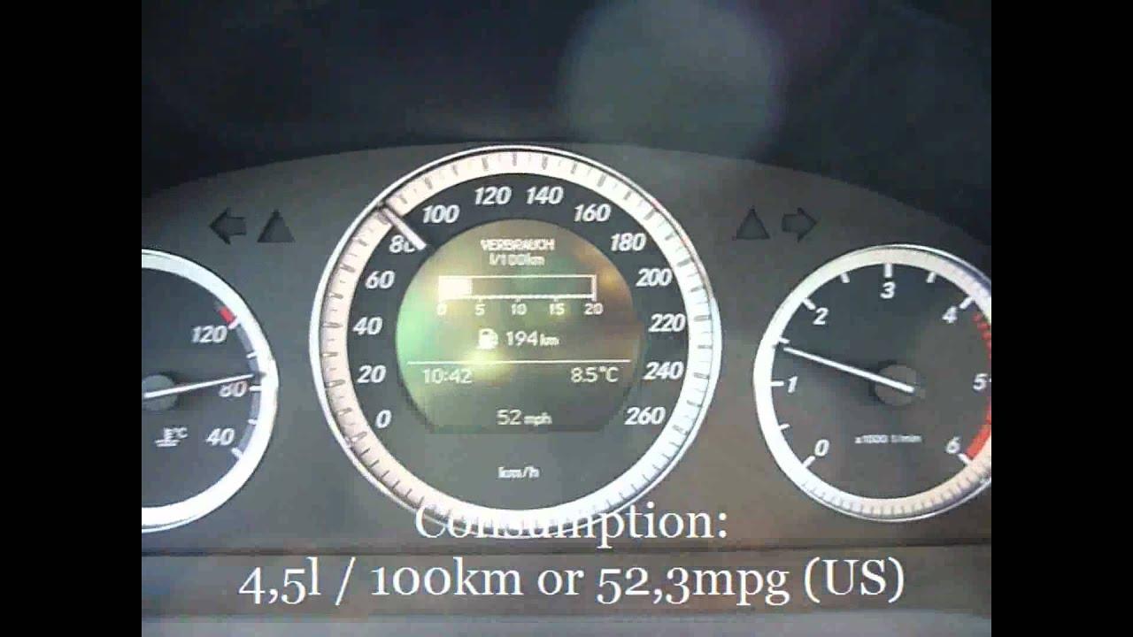 2010 mercedes benz c200 cdi fuel consumption test - youtube