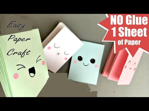 HOW TO MAKE MINI NOTEBOOK FROM ONE PAPER- MINI PAPER BOOK DIY. EASY PAPER CRAFT.