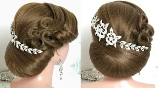 Trendy bridal hairstyle for long hair tutorial. Wedding updo.