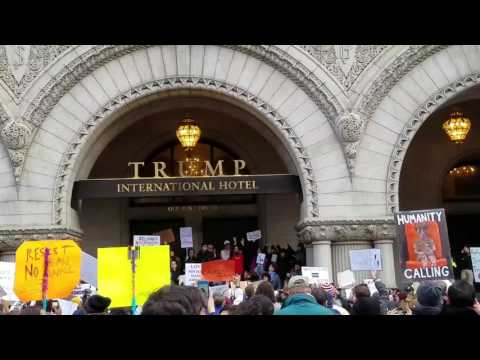 Immigration protest at Trump hotel in Washington DC 1/29/17