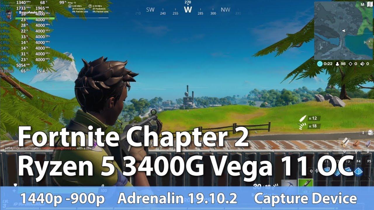 Fortnite 2 On Amd Ryzen 5 3400g Vega 11 Oc Test Gameplay Benchmark Youtube