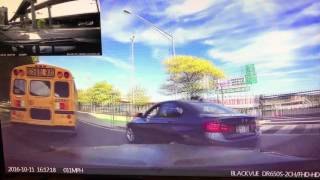 Dashcam BMW crash(Dash Cam Video (front and rear cameras) showing a BMW in a hurry to get somewhere and trying to pass where there's no room to pass. Jukin Media Verified ..., 2016-10-13T00:51:35.000Z)