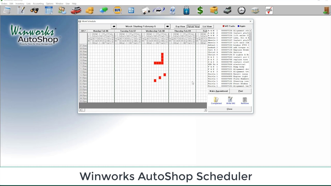 Winworks AutoShop Tutorials- Scheduler