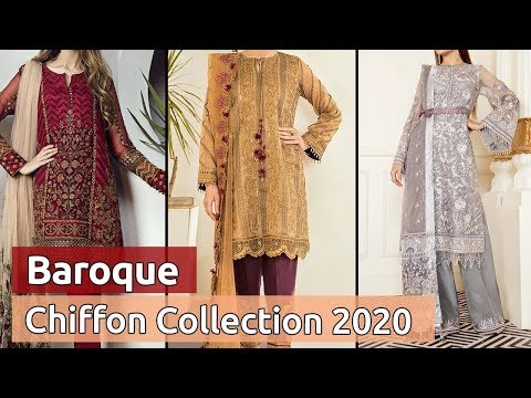 Latest BAROQUE Pakistani Chiffon Dresses 2020 | Stylish Designer Chiffon Dress Designs