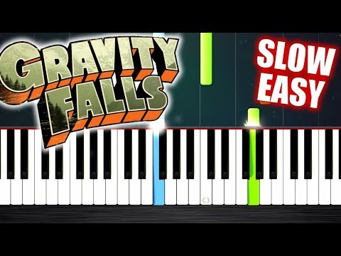 Gravity Falls Theme - SLOW EASY Piano Tutorial by PlutaX