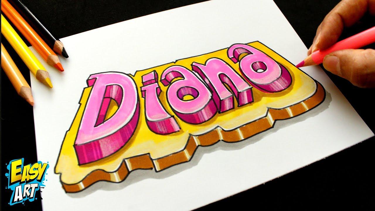 1df4e75ab SACAR UN DISEÑO 3D CON MI NOMBRE - Dibujos fáciles - Dibujo Nombre Diana