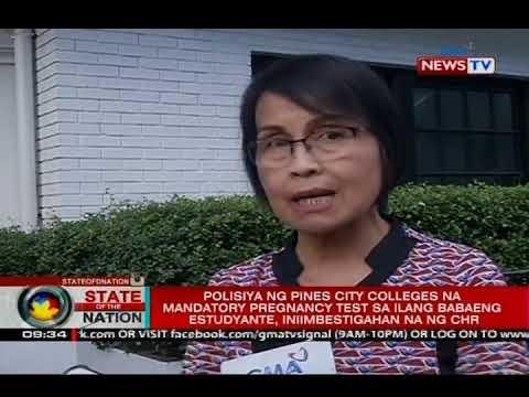 Polisiya Ng Pines City Colleges Na Mandatory Pregnancy Test Sa Babaeng Estudyante, Iniimbestigahan