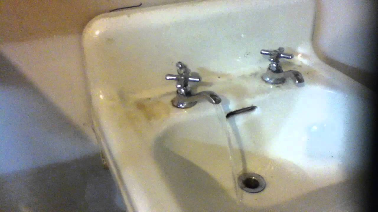 vintage split faucet sink installed in the shop - YouTube