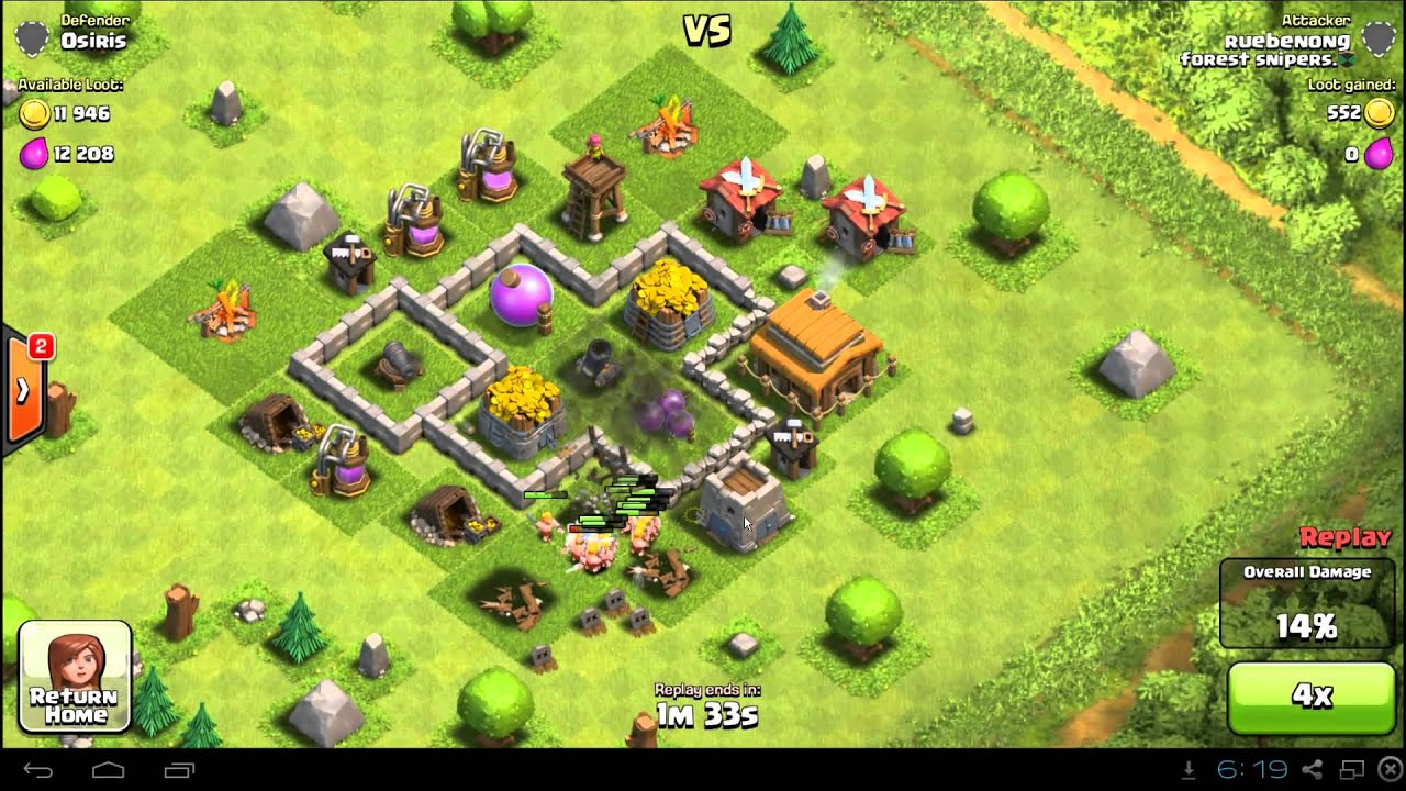 Clash of Clans Town Hall 3 Farming Defense Base Layout Guide - YouTube