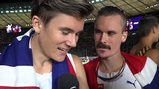 Jakub and Henrik Ingebrigtsen (NOR) after winning Gold and Silver in the 5000m