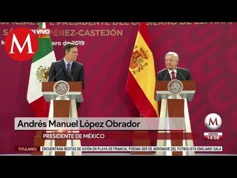 AMLO en reunión con el Presidente Pedro Sánchez