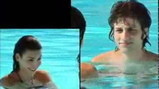Carla e Tomás se divertem na piscina