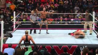 Cesaro's Swing on the Great Khali and Hornswoggle
