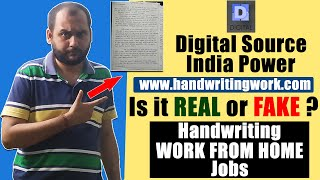 Digital Source India Power | www.handwritingwork.com | Is it REAL or FAKE? | Work From Home Jobs