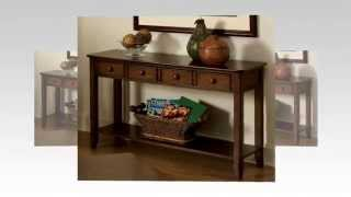 Standard Furniture Hialeah Court Cherry Finish Sofa Table With  Metal And Wood Knobs