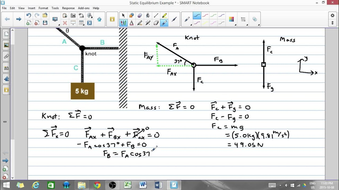 Static Equilibrium Example Youtube