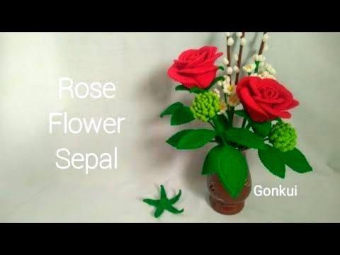 Rose Flower Crochet PART 2/3ถักกลีบเลี้ยงและวิธีประกอบดอกกุหลาบ