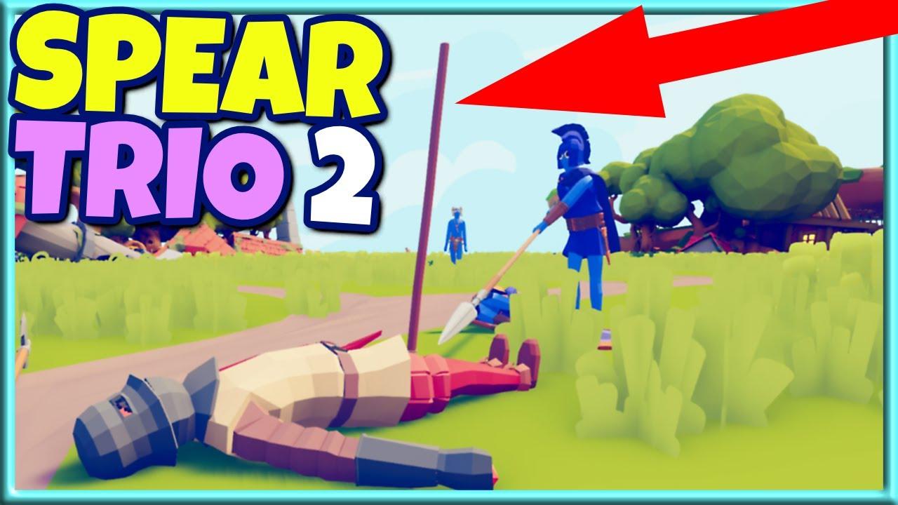 Spear Trio 2! Hoplite+Sarissa+ Spear Thrower vs Every Unit 3v1 - TABS Gameplay Unit Creator Update