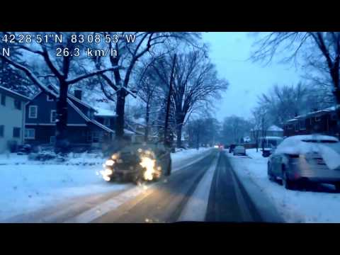 Driving on a Snowy Evening from Royal Oak, Michigan to Beverly Hills, Michigan