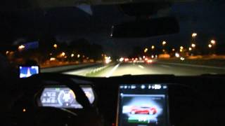 Tesla Model S P85 driving 200 km/h, 125 mph over 63 km on German autobahn