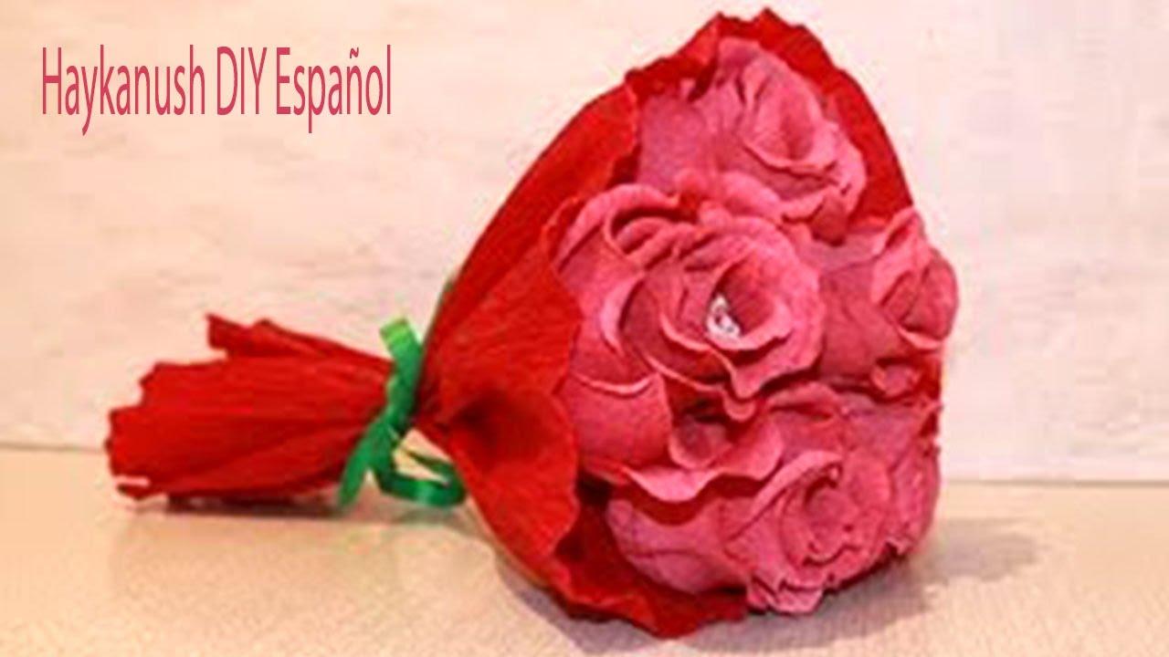 Como hacer rosas con papel crepe faciles paso a paso ramo - Como hacer ramos de flores ...