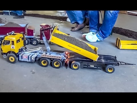 Rc Container Truck And Trailer Action Youtube