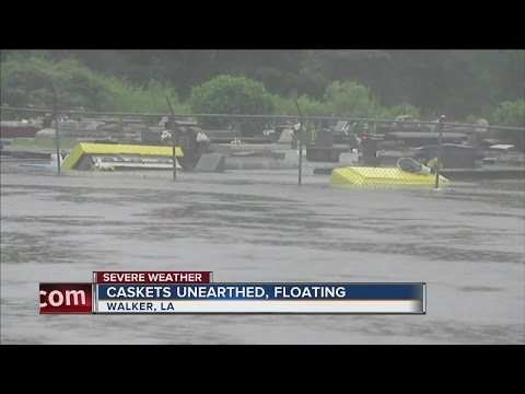 Caskets floating amidst Louisiana flood waters