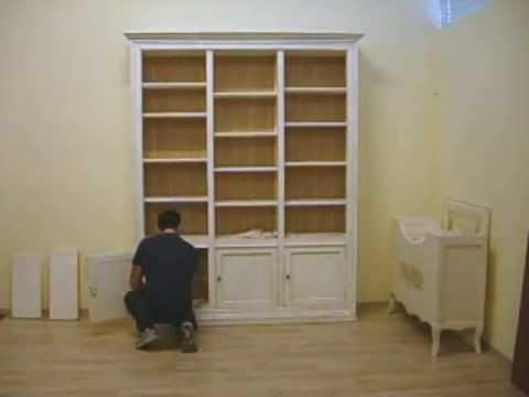 Come Dipingere Il Legno Laccato.Libreria In Legno Massello Laccata Bianco Avorio Youtube