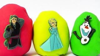 Huevos sorpresa FROZEN con Elsa, Olaf y Kristoff. Huevos de plastilina.