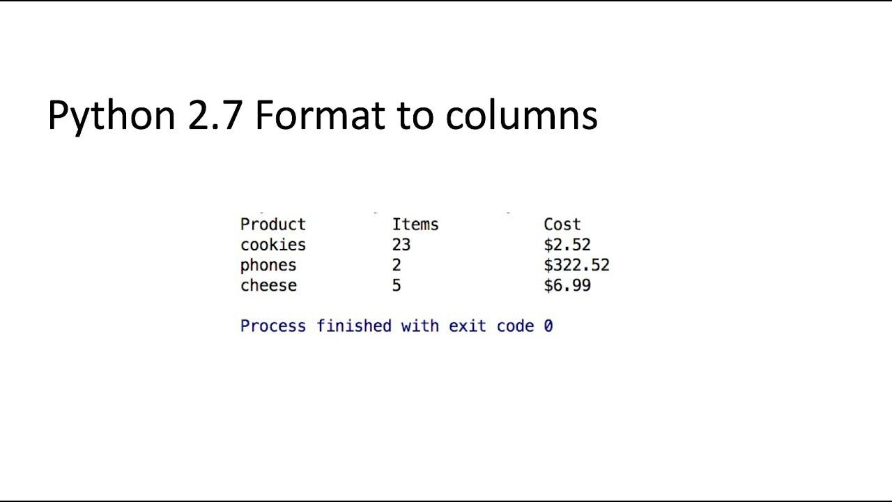 python print columns