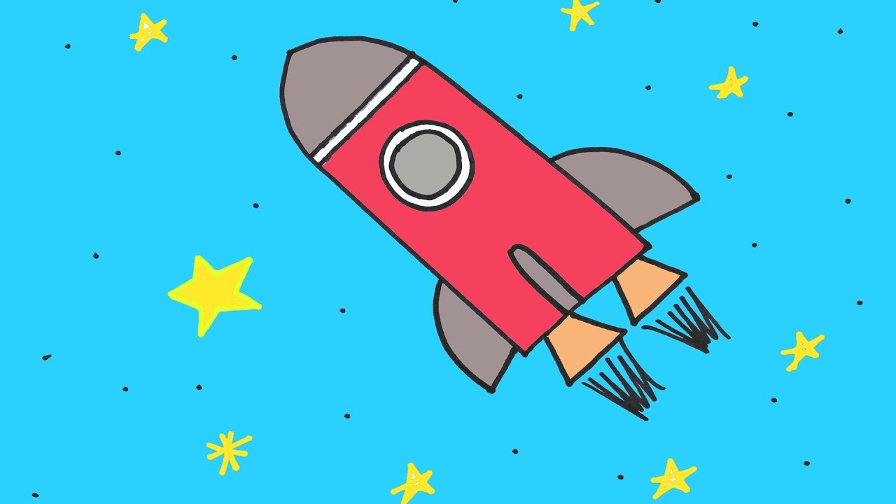 How To Draw A Rocket Ship In Space Step-By-Step Drawing