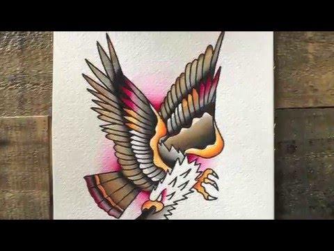 Classic Tattoo Flash Eagle Watercolor Bboy Smurf Youtube