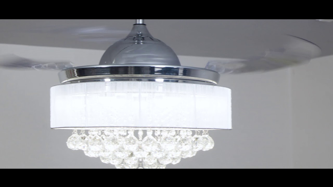 F4201 Retractable Crystal Led Ceiling Fan With Light Remote Chrome Youtube
