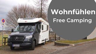 FREE motorhome camping in Switzerland: Romont. Wohnfühlen Tour 3