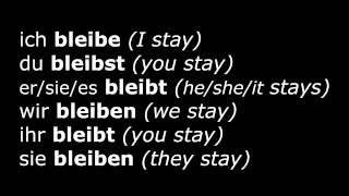 Learn German Verbs - Lesson 19 - bleiben (stay) - Verben im Präsens (High Quality Audio) 2013