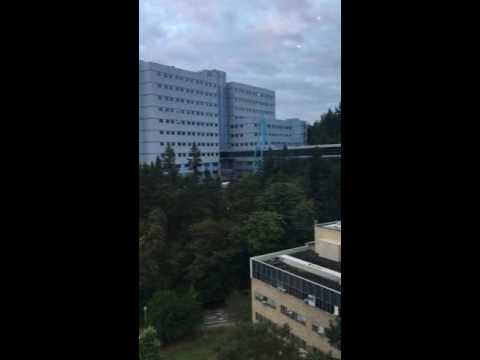 The sky bridge at OHSU Oregon Health Sciences University- outside view with Yolanda Vanveen