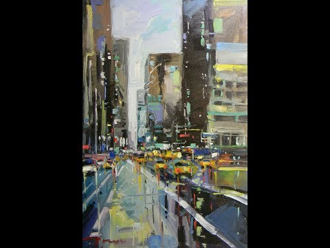 Painting of a City Buildings - Artist JOSE TRUJILLO