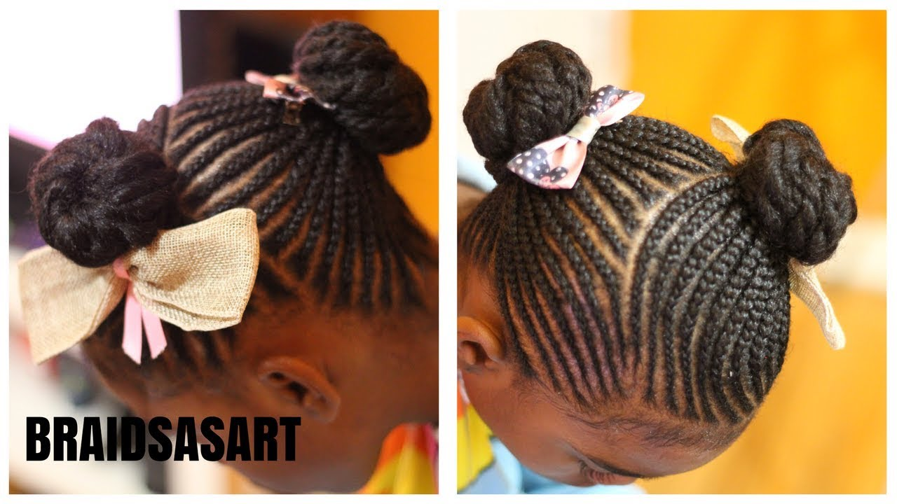 Small Braids In 2 Ponytails Little Girls Hairstyle