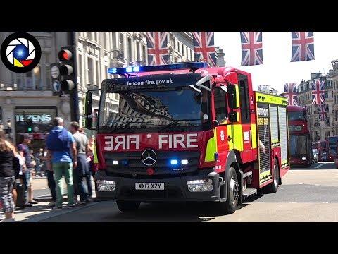 HORN ! London Fire Brigade  Soho Pump Ladder A241 responding