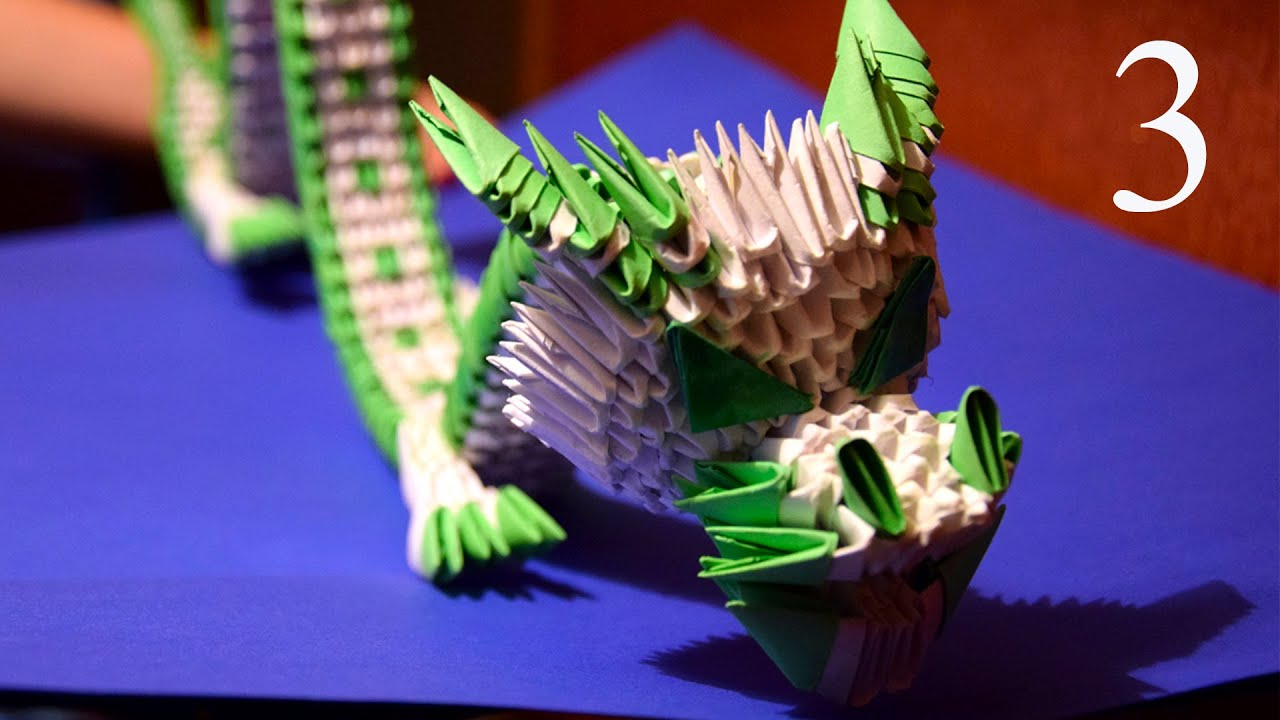 3D origami green Chinese dragon of paper tutorial part 3 ... - photo#50
