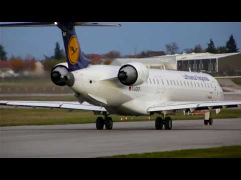 CRJ900 Lufthansa Régional Line Up And Take Off  At Lyon With ATC