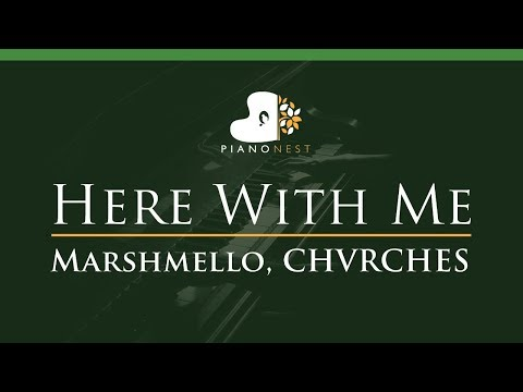 Marshmello, CHVRCHES - Here With Me - LOWER Key (Piano Karaoke / Sing Along)
