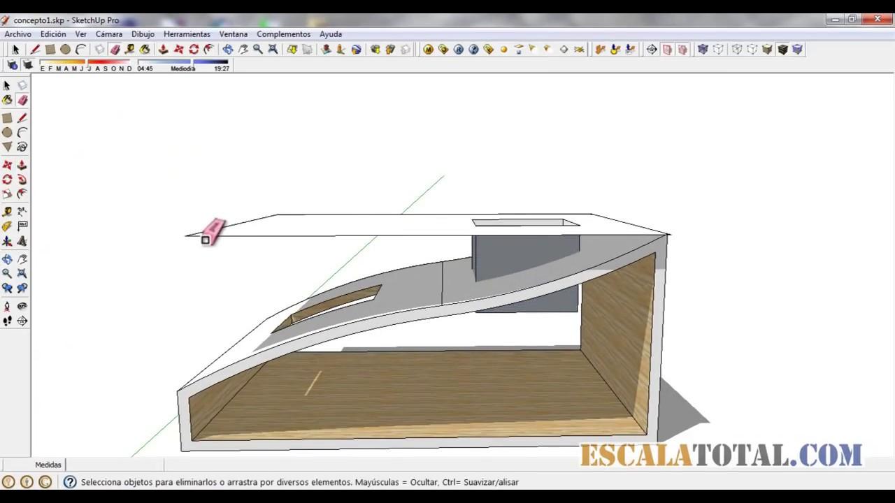 Hacer un hueco en un elemento curvo en sketchup youtube - Como hacer un libro hueco ...